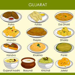 illustration of delicious traditional food of Gujarat India