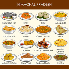 illustration of delicious traditional food of Himachal Pradesh India