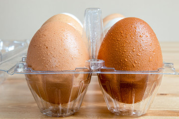 Close up of wet clean hen eggs in a plastic box on a table