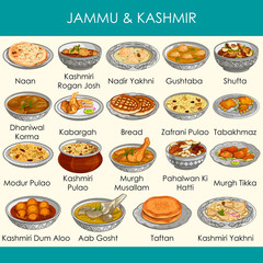 illustration of delicious traditional food of Jammu and Kashmir India
