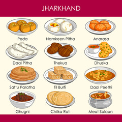 illustration of delicious traditional food of Jharkhand India