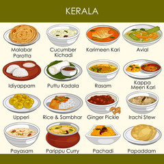 illustration of delicious traditional food of Kerala India