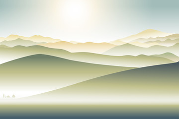 mountains landscape with lonely house foothill  abstract illustration background Fotobehang