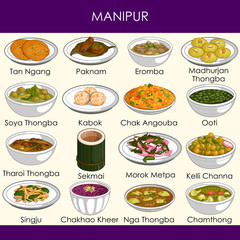 illustration of delicious traditional food of Manipur India