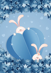 an illustration of a couple of bunnies with blue heart