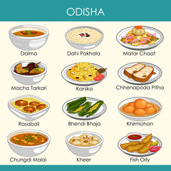 illustration of delicious traditional food of Odisha India