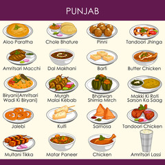 illustration of delicious traditional food of Punjab India