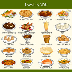 illustration of delicious traditional food of Tamil Nadu India