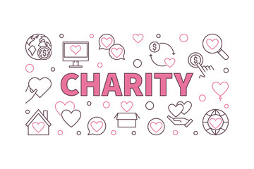 Charity vector concept horizontal illustration or banner in outline style