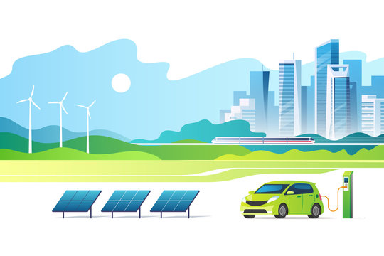 Concept of renewable energy. Green city. Urban landscape with a solar panels, electric car charger station and wind turbines. Vector illustration.