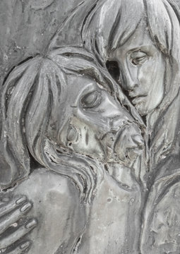 Bas-relief in bronze representing The Pity of Michelangelo