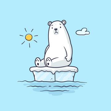 Global warming with sad polar bear sitting on ice floating on the water vector cartoon illustration