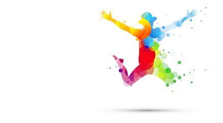 ragazzi, amici, saltare, cromoterapia, gioco, giocare