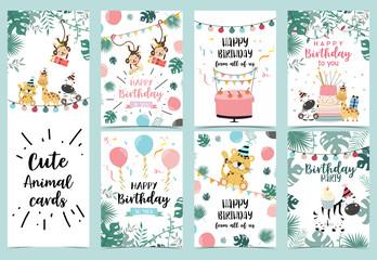 Green birthday card with tiger,monkey, giraffe, zebra,cake,light and balloon