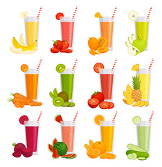 A set of glasses with juice, fruits and vegetables. Various smoothies. Illustration in cartoon style. Vector drinks.
