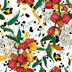 Safari Africa design of leopard and tiger, snake and zebra. Vector. Modern Animal Skin prints flower Hand Drawn seamless pattern.
