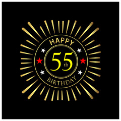 Happy Birthday stock vector template, Happy Birthday forty 55 year