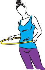 Hula-Hoop girl illustration