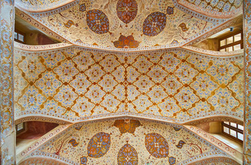 The ceiling of Reception hall in Ali Qapu palace, Isfahan, Iran
