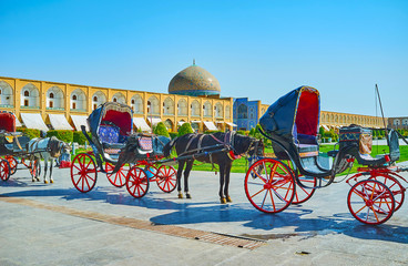 Traditional carriages in Isfahan central square, Iran