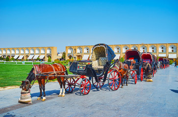 Queue of tourist carriages, Isfahan, Iran