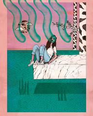 Frau liegt auf Marmorblock am Meer