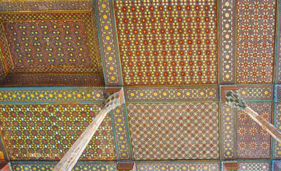 Details of wooden ceiling of Ali Qapu Palace, Isfahan, Iran