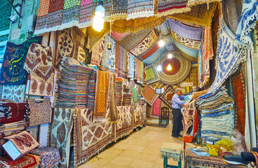 The store of handprinted ghalamkar tapestries, Grand Bazaar, Isfahan, Iran