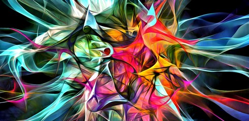 Abstract electrifying lines, smoky fractal pattern, digital illustration art work of rendering chaotic dark background. Fotoväggar