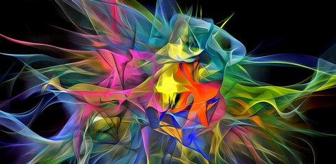 Abstract electrifying lines, smoky fractal pattern, digital illustration art work of rendering chaotic dark background.