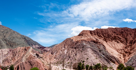 Purmamarca town and red mountains full of colours - Imagem. JuJuy. Argentina.