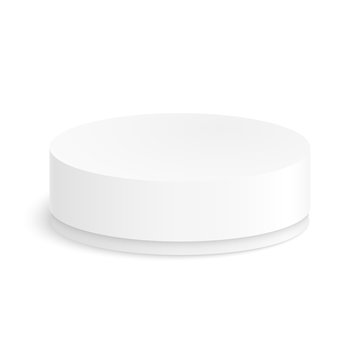 Round paper box for your design on a white background. Vector illustration