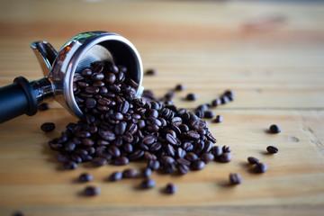 coffee bean and portafilter.