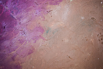 The texture of a picturesque picture. Canvas with the oil paint applied on it in different...
