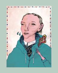 Rauchende Frauen Portrait mit Bluse
