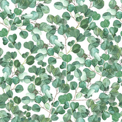 Watercolor eucalyptus hand painted seamless pattern. Green foliage watercolor seamless background.