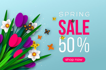 Spring sale banner with paper cut tulips, narcissus and butterfly. Template for banners, flyers, posters, brochures, voucher discount. Vector illustration.
