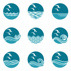 collection of ocean icons with waves and seagulls