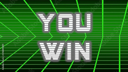 Animation of YOU WIN title appearing on a retro 80s 90s