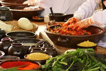 Foto op Canvas Kruiderij 한국의 음식 배추 김치 축제 백그라운드 이미지