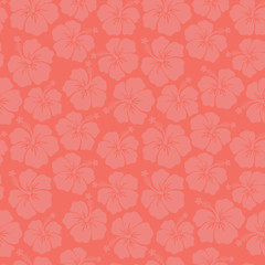 Subtle floral background Coral Hibiscus flowers seamless vector pattern. Trend color. Feminine backdrop. For textile fabric, wallpaper, covers surface, wrap, scrapbooking, home decor page fill.