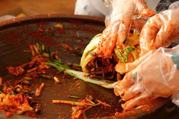 Spoed Foto op Canvas Kruiderij 한국의 음식 배추 김치 축제 백그라운드 이미지