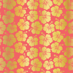 Gold foil Hibiscus flowers on coral background seamless vector pattern. Trend color. Floral feminine backdrop. For summer, invitation, card, digital paper, wallpaper, covers, scrapbooking, home decor.