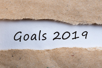 2019 goals uncovered letter in brown envelope, business concept. Targets, goal, dreams and expectation for the next year