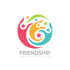 Friendship - vector business logo template concept illustration. Human character. People sign. Abstract symbol. Social media. Design element.