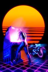Arcade video gamer - retro wave concept