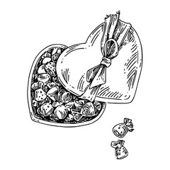 Candy wrappers are in  heart-shaped box. Sketch. Engraving style. Vector illustration.