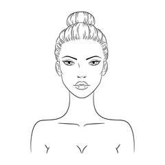 Vector illustration of a beautiful young nude woman, isolated on white background. Fashion model sketch