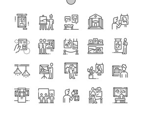 Painting exhibition Well-crafted Pixel Perfect Vector Thin Line Icons 30 2x Grid for Web Graphics and Apps. Simple Minimal Pictogram
