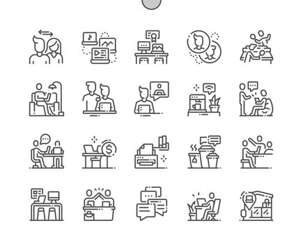Coworking Well-crafted Pixel Perfect Vector Thin Line Icons 30 2x Grid for Web Graphics and Apps. Simple Minimal Pictogram